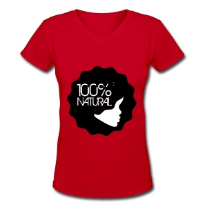 100% Natural Afro Lady - Women's V-Neck T-Shirt