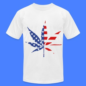 Marijuana Leaf American Flag T-Shirts - Men's T-Shirt by American Apparel