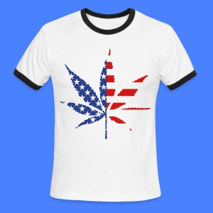 Marijuana Leaf American Flag T-Shirts - Men's Ringer T-Shirt