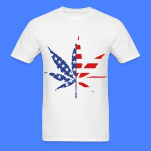Marijuana Leaf American Flag T-Shirts - Men's T-Shirt