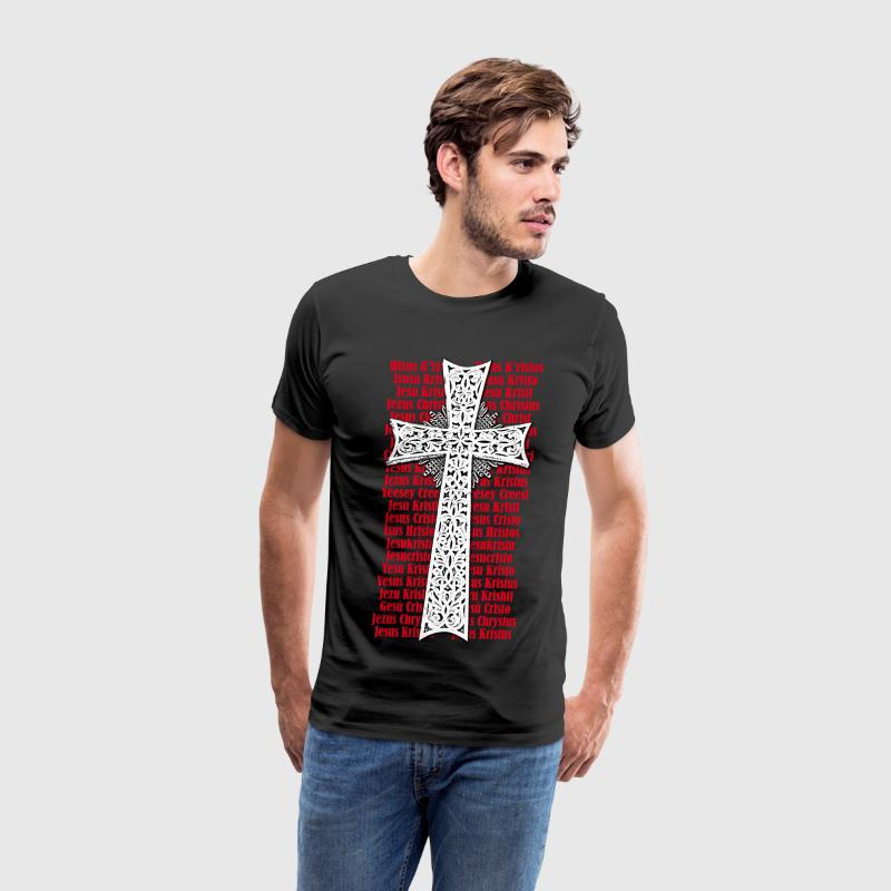Cross Name of Jesus Christ in different languagest - Men's Premium T-Shirt