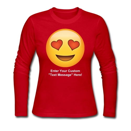 Valentine's Day Text Emoticon - Women's Long Sleeve Jersey T-Shirt