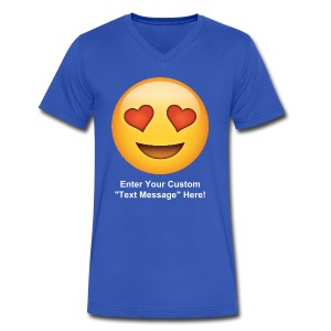 Valentine's Day Text Emoticon - Men's V-Neck T-Shirt by Canvas