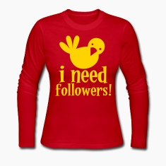 i need followers! Blue tweeter bird Long Sleeve Shirts
