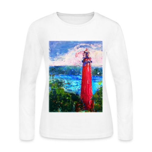 Womens T shirt with Lighthouse Longsleeved - Women's Long Sleeve Jersey T-Shirt