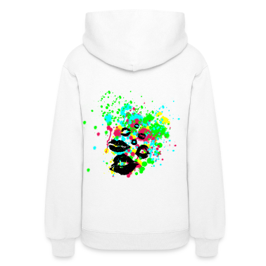 Paint Splatter Graffiti Lip Kisses Graphic Hoodie | Women and Teen Girls Colorful Multi Color Sweatshirt