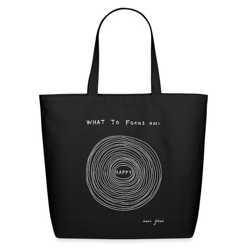 What to focus on: HAPPY - tote bag - Eco-Friendly Cotton Tote