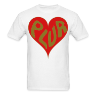 T-Shirts ~ Men's T-Shirt ~ Peace Love Unity & Respect (PLUR) Rave Mantra with heart