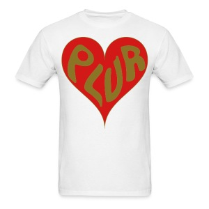 Peace Love Unity & Respect (PLUR) Rave Mantra with heart - Men's T-Shirt