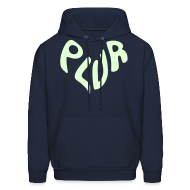 Hoodies ~ Men's Hoodie ~ Peace Love Unity & Respect (PLUR) Rave Mantra Glow in the dark print