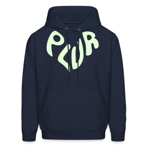 Peace Love Unity & Respect (PLUR) Rave Mantra Glow in the dark print - Men's Hoodie