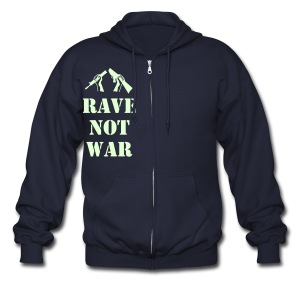 Rave not War Raver Hoodie Glow in the Dark - Men's Zip Hoodie
