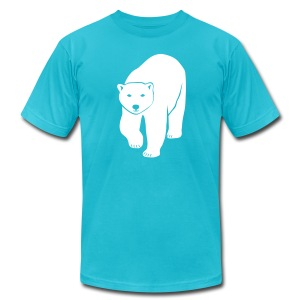 animal t-shirt polar bear ice black white penguin knut climate change stop global warming - Men's T-Shirt by American Apparel