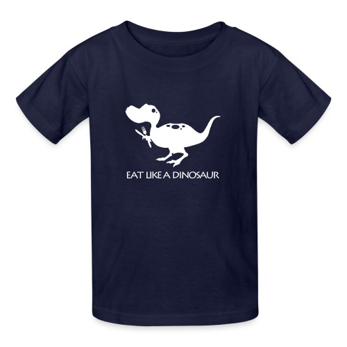 Eat Like a Dinosaur - dark shirt - Kids' T-Shirt