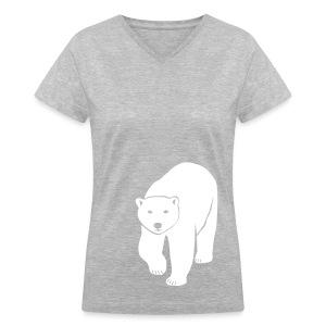 animal t-shirt polar bear ice black white penguin knut climate change stop global warming - Women's V-Neck T-Shirt