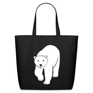 animal t-shirt polar bear ice black white penguin knut climate change stop global warming - Eco-Friendly Cotton Tote