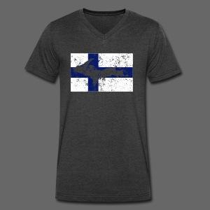 Finnish Flag U.P. - Men's V-Neck T-Shirt by Canvas