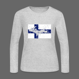 Finnish Flag U.P. - Women's Long Sleeve Jersey T-Shirt