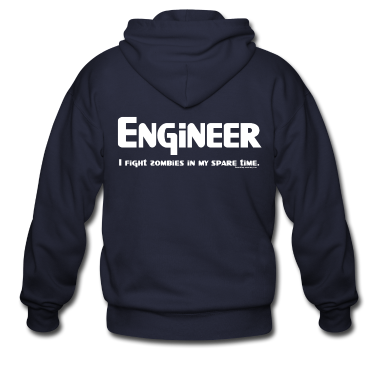 White Engineer Zombie Fighter Zip Hoodies/Jackets