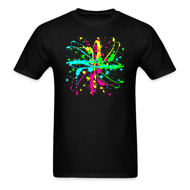 Spray paint splatter multi color graffiti graphic t shirt for Two color shirt design