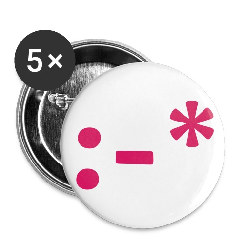 5 pack Pink emoticon kiss button - Large Buttons
