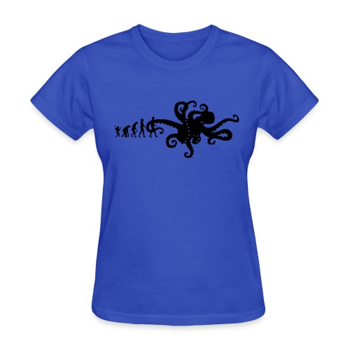 Evolution Of Man Joke - Octopus Graphic Design Picture T-Shirt ...