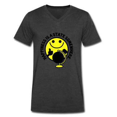 HAPPINESS is a STATE somewhere! with yellow smiley and a world globe T-Shirts