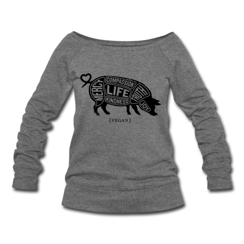 'Words to Live By' (Pig) w/ Don't Do Nothing Quote  - Women's Wideneck Sweatshirt