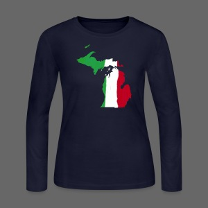 Michigan Italian Flag - Women's Long Sleeve Jersey T-Shirt