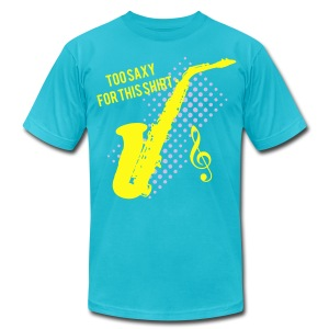 Sexy Saxophone player -Too Saxy for this shirt Men's Heavyweight  - Men's T-Shirt by American Apparel