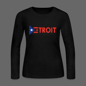 Detroit Puerto Rican Flag - Women's Long Sleeve Jersey T-Shirt
