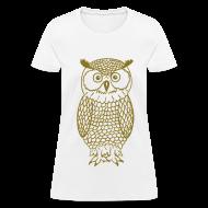 Women's T-Shirts ~ Women's T-Shirt ~ Owl - Metallic Gold