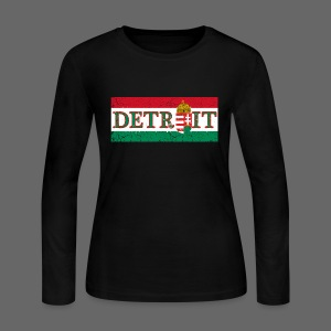 Detroit Hungarian Flag - Women's Long Sleeve Jersey T-Shirt