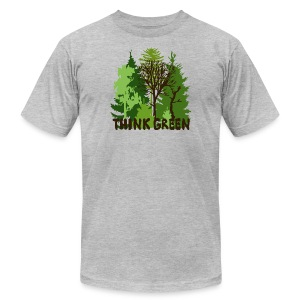 eco bag t-shirt Earth Day Think Green forest trees wilderness mother nature - Men's T-Shirt by American Apparel