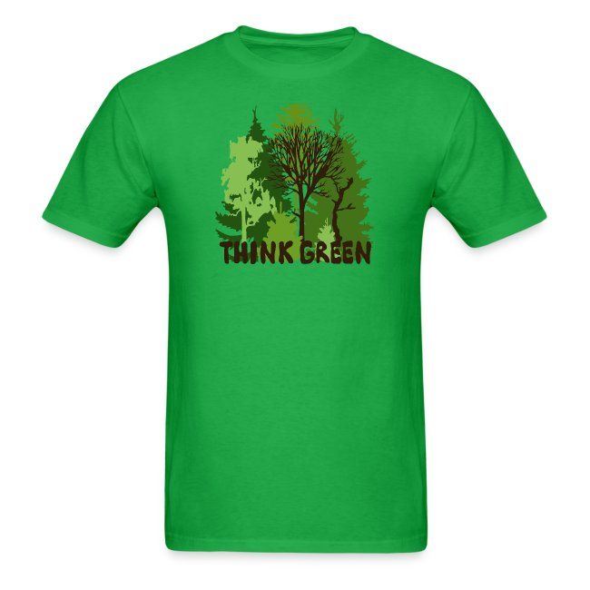 eco bag t-shirt Earth Day Think Green forest trees wilderness mother nature