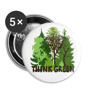 eco bag t-shirt Earth Day Think Green forest trees wilderness mother nature - Large Buttons