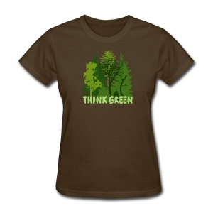 eco bag t-shirt Earth Day Think Green forest trees wilderness mother nature - Women's T-Shirt