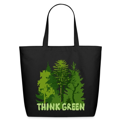 eco bag t-shirt Earth Day Think Green forest trees wilderness mother nature - Eco-Friendly Cotton Tote