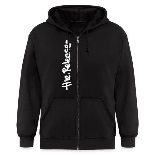 Zipper Hoodie with White Logo - Men's Zip Hoodie