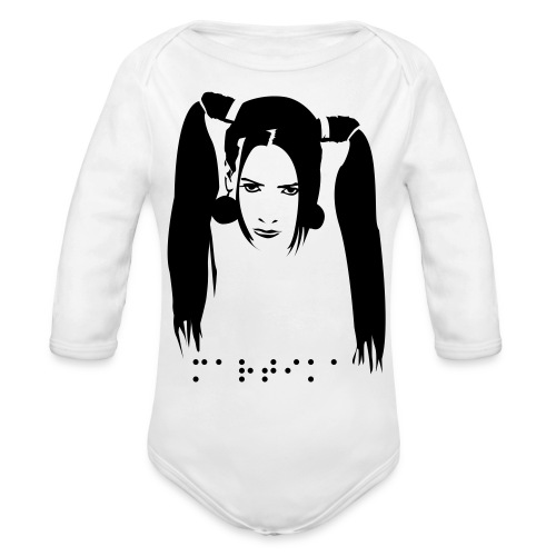 Organic Long Sleeve Baby Bodysuit - MARTIKA image with Braille logo. Visualize whirled peas on this cute baby one piece.