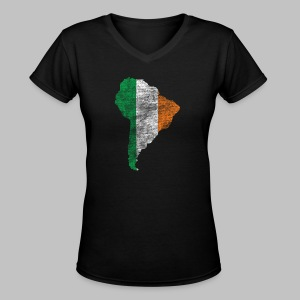 South American Irish Flag - Women's V-Neck T-Shirt