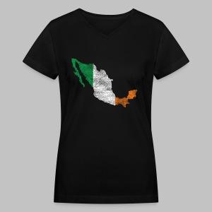 Mexico Irish Flag - Women's V-Neck T-Shirt