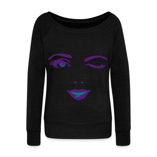 Wink face - Women's Wideneck Sweatshirt