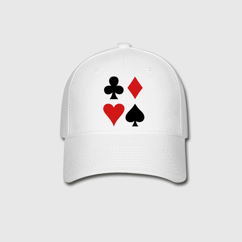 all four suits club diamond heart and spade poker design Caps - Baseball Cap