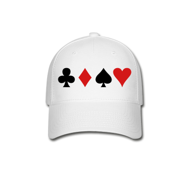 all four poker spade diamond club and heart suits in a row Caps