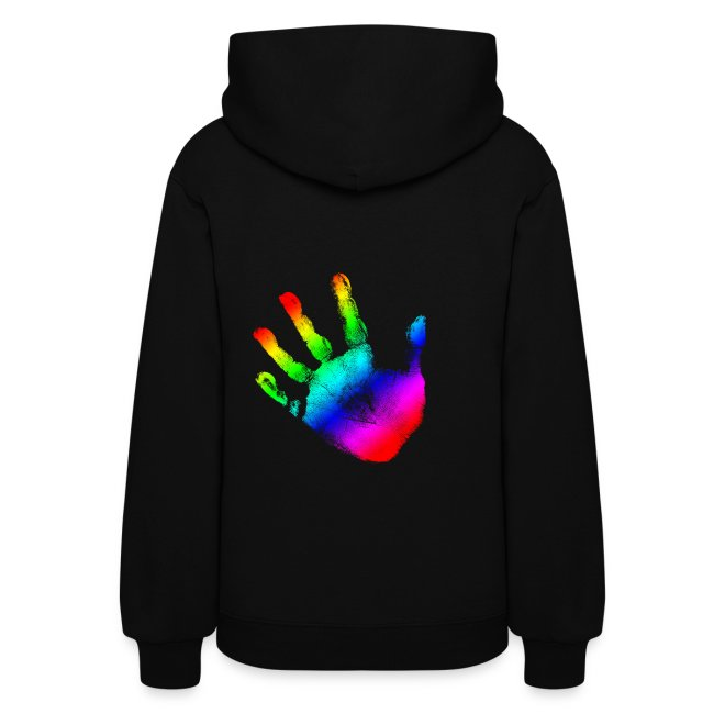 0910d9b73 Rainbow Handprint Graphic Design for Women and Teen Girls Hooded Sweatshirt