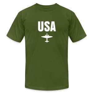 USA: Army Green USA Tee - Men's T-Shirt by American Apparel