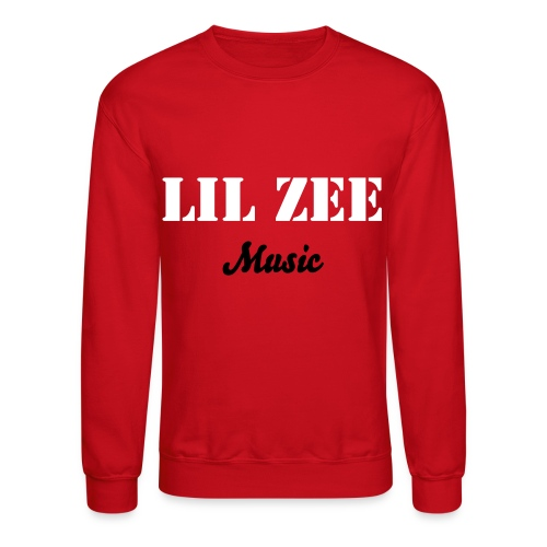 Lil Zee Music Crewneck Red (White & Black) - Crewneck Sweatshirt
