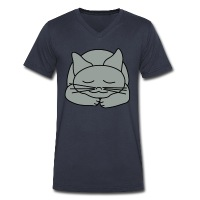 Sleeping Cat - Men's V-Neck T-Shirt by Canvas