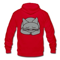 Sleeping Cat - Unisex Fleece Zip Hoodie by American Apparel